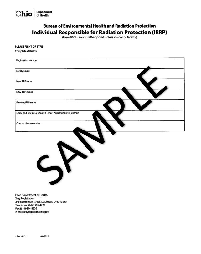Individual Responsible for Radiation Protection Change form updated January 2020
