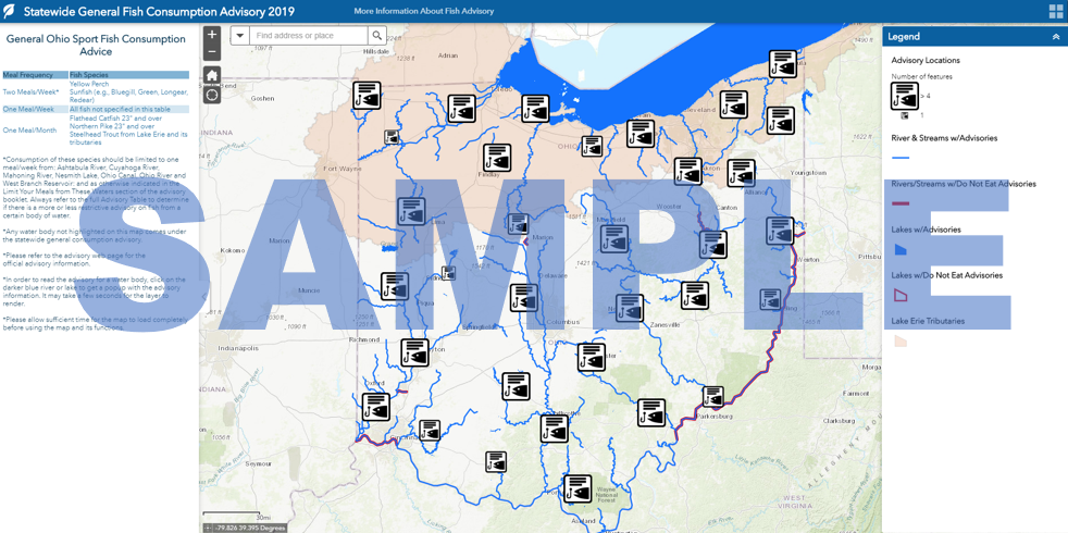 Screenshot of Ohio Environmental Protection Agency interactive map of fishing advisories in Ohio