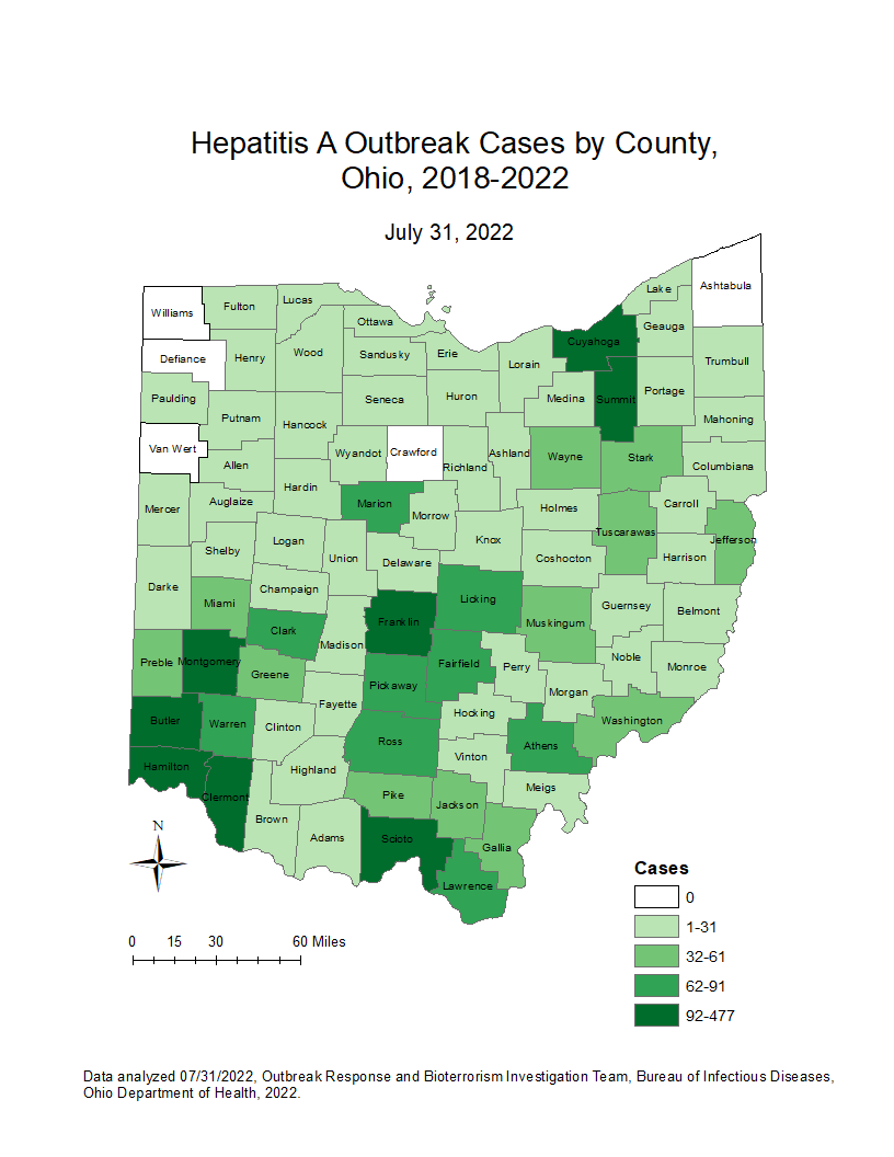 Hepatitis A Outbreak Map 03012021